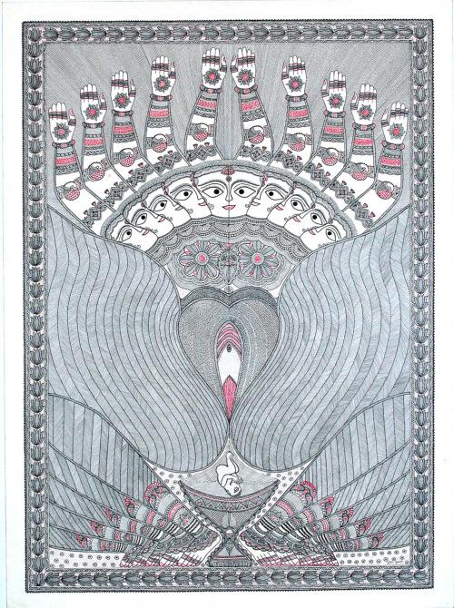 Yoni', Madhubani art by Pushpa Kumari,