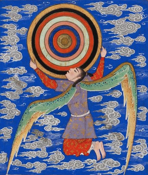 The Angel Ruh Holding the Celestial Spheres. Aja'ib al-Makhluqat (Wonders of Creation). 1550s..jpg