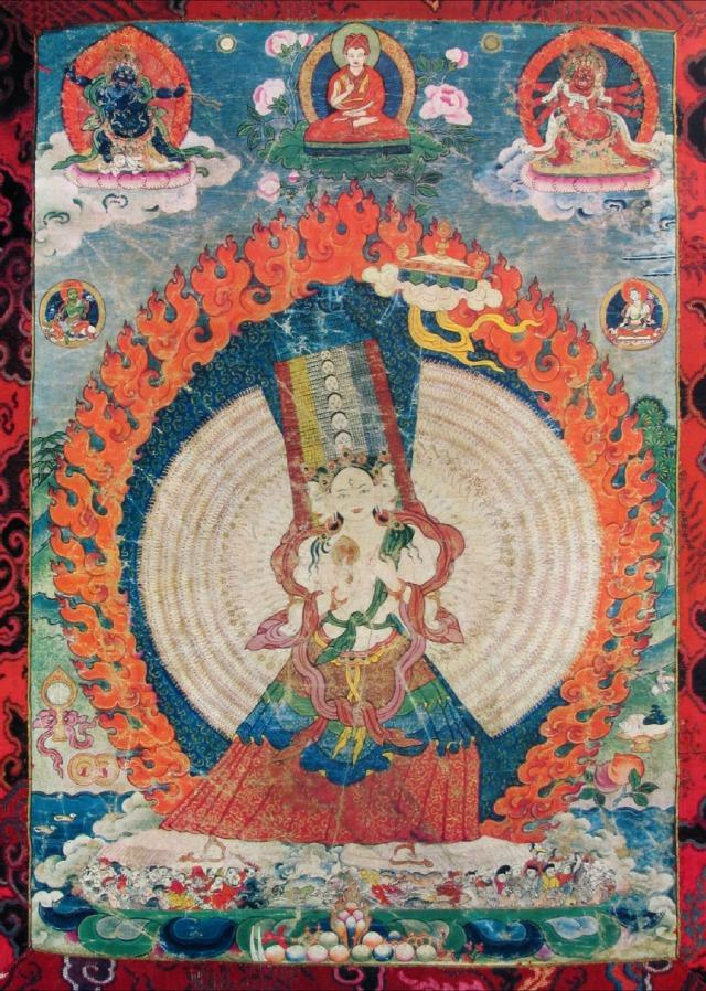 Sitatrapatra Buddhist Deity, 1,000 Faces, 1,000 Hands. Sakya Lineage, Tibet. 1700s..jpg