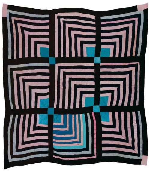 """Housetop"" — nine-block ""Half-Logcabin"" variation, ca 1955 by Sue Willie Seltzer .jpg"