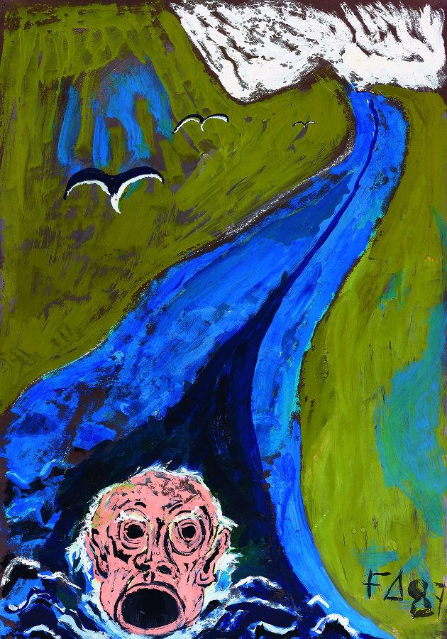Friedrich Dürrenmatt he singing head of Orpheus drives down the Styx (Der singende Kopf des Orpheus treibt den Styx hinunter), 1987.jpg