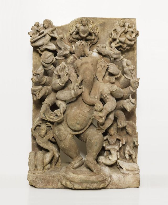 10th century, Madhya Pradesh, India. Sandstone. Twenty-Armed Dancing God Ganesha.jpg
