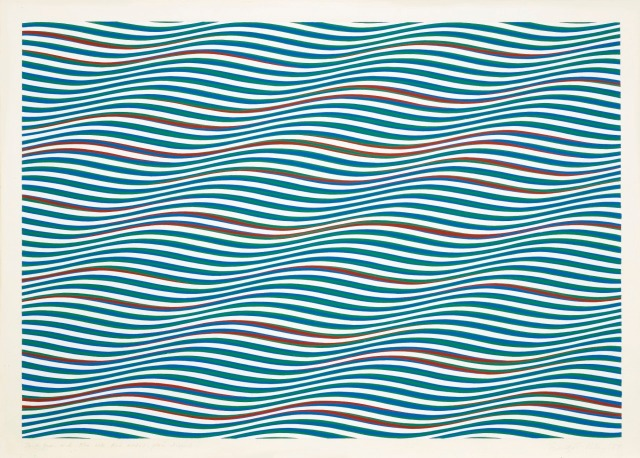 Bridget Riley, Dark Green and Blue with Red Added, Plain Diagonal, 1979.jpg
