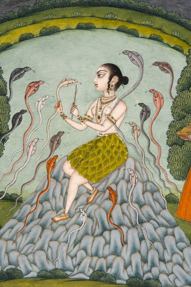 Asavari Ragini a tribal woman in a peacock-feather skirt feeding flowers to a snake in a rocky landscape.jpg