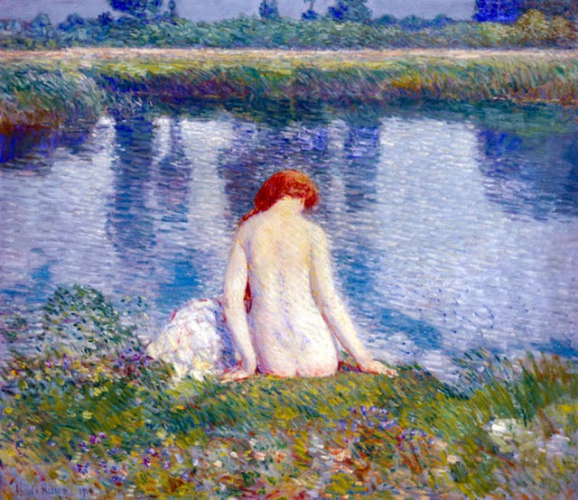 """Bather and cloud reflections"" (1914) by American artist Childe Hassam .jpg"