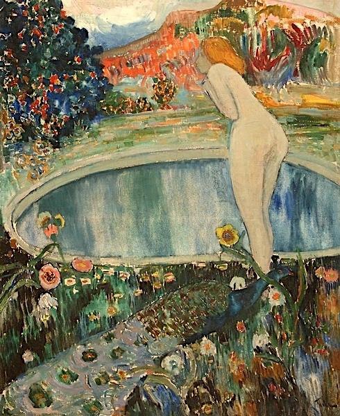 Femme nue dans un parc (Nude in the park) by Adolphe Féder.jpg