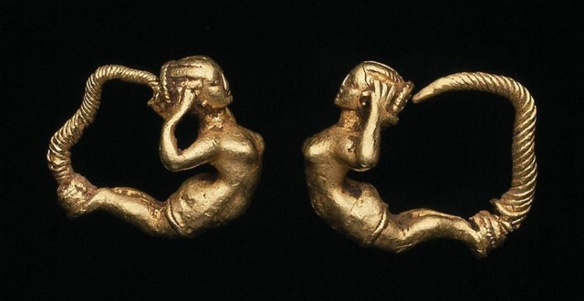 Greek, Pair of earrings with female figure, late 4th century BC.jpg