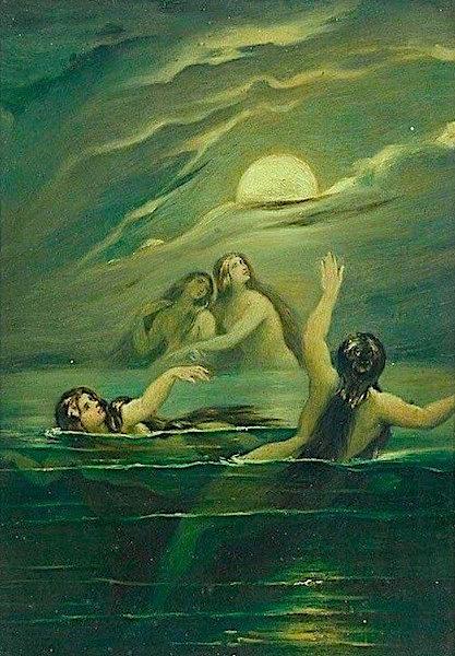 Moritz von Schwind Nereids Worshipping the Moon ~ 1870′s.jpg