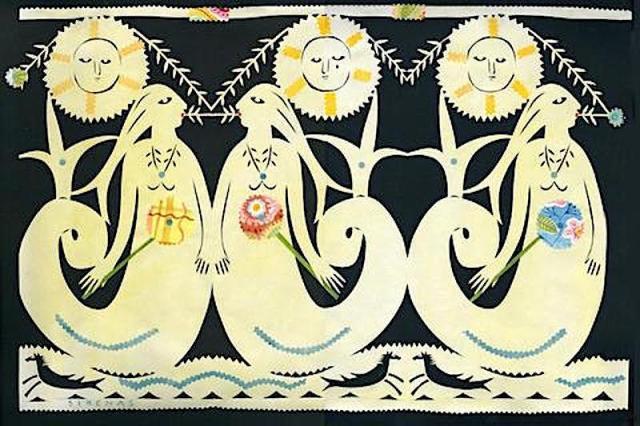 Sirenas ~ papercut ~ American artist Julie Paschkis.jpg