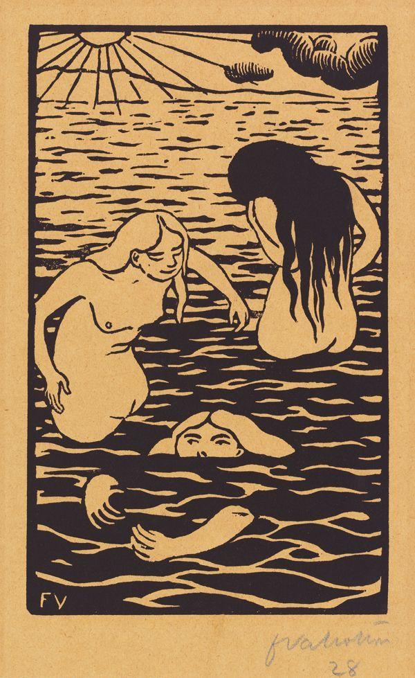 Three Bathers ~ linocut ~ Félix Edouardo Vallotton.jpg