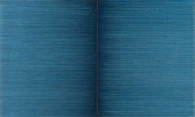 Irma Blank (German, b. 1934), Schriftzug=Atemzug, 1988. Oil on canvas, diptych,.jpg