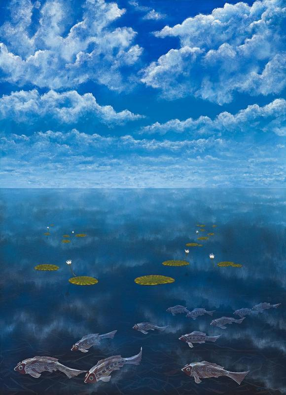 Lin Onus (Australian, 1948-1996), Guyi Ga ginimbirri (Fish and Clouds), 1992.jpg