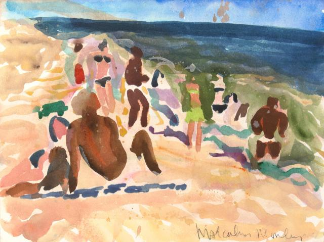 Malcolm Morley (British:American, 1931-2018), Bridgehampton Beach with Figures, 1983.jpg