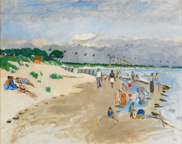 Hilding Linnqvist (Swedish, 1891-1984), Badstranden i Falsterbo [The beach in Falsterbo], 1936..jpg
