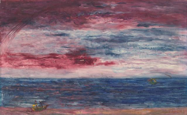 James Ensor (Belgian, 1860-1949), Marine soleil couchant [Seascape, sunset], 1940.png