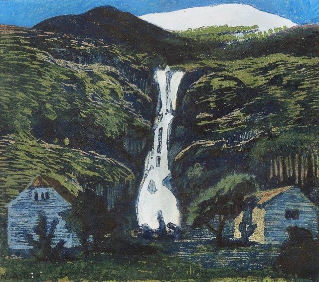 Nikolai Astrup (Norwegian, 1880-1928), Waterfall and Glacier. .jpg