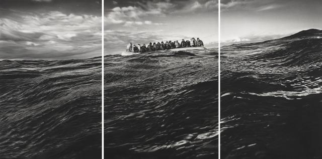 Robert Longo (American, b. 1953), Untitled (Raft at Sea), 2016-17. Triptych; .jpg