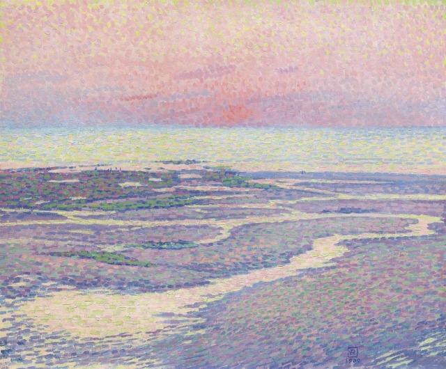 Théo van Rysselberghe (Belgian, 1862-1926), Plage à marée basse, soir [Sea at low tide, evening], 1900.jpg